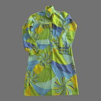 Saks Fifth Avenue Psychedelic Mod Hippie Hipster Shirt Dress