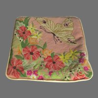 Vintage Handmade Needlepoint Cushion Cover Butterfly Flowers