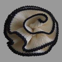 Vintage St. John Knits Santana Camellia Flower Pin Brooch White Black Classic