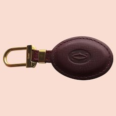 Vintage Cartier Key Ring Embossed Burgundy Leather