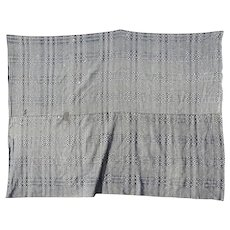 American Blue White Woven Overshot Coverlet c 1840 AS IS