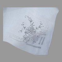 Vintage Older Organdy Embroidered Handkerchief