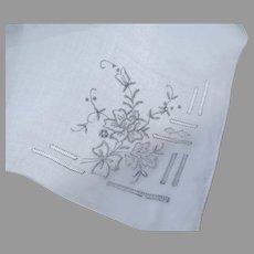 Vintage Older Organdy Embroidered Handkerchief