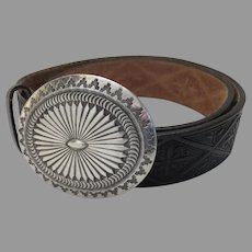 Sterling Silver Large Concho Belt Buckle with Lyntone Tooled Belt
