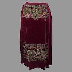 Vintage Oscar de la Renta Velvet Beaded Embroidered Skirt Ethnic