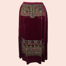 Vintage Oscar de la Renta Velvet Beaded Embroidered Skirt Ethnic