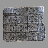 Vintage Older Polynesian Tapa Bark Cloth Beautiful Pattern Large Blues and Browns