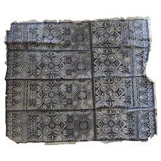 Vintage Older Polynesian Tapa Bark Cloth Beautiful Pattern Large Blues and Browns