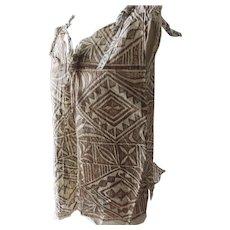 Older Vintage Tapa Bark Cloth Polonisian Top