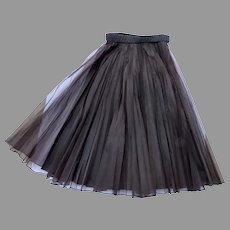 Vintage Full Dressy Black 50's Skirt Self Belt