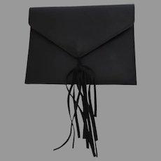 Vintage Anthropologie Street Level Black Leather Envelope Clutch Purse Bag Fringe Tassel