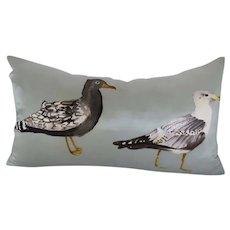 Vintage Watercolor Silk Pillow by West Elm Birds Seagulls