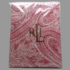 """Ralph Lauren Vintage Oblong 60"""" by 120"""" Paisley 100% Cotton Tablecloth Never Used"""