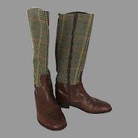 Vintage Etro Boots Plaid Tartan Leather