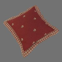 Charming Vintage Accent Throw Pillow with Rooster Motif Fabric Checked Flanged Edge