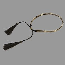Vintage Hand Woven Horse Hair Hat Band for Cowboy Hats Black & Natural with 2 Tassels Adjustable