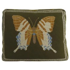 Handmade Needlepoint Cushion Pillow with Butterfly Excellent Work Boxed Construction Raised Eyes