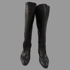 Vintage Roberto Vianni for Nieman Marcus Black Leather Riding Boots Back Zipper