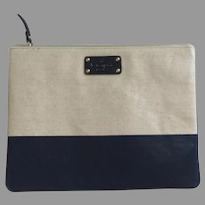 Vintage Kate Spade New York Navy Canvas Pouch Cosmetic Clutch