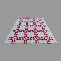 """Vintage Well Made Red White Quilt 70"""" by 78"""" Hand Made"""