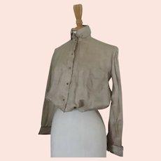 Shirt Waist Blouse in Raw Silk Front Pocket c 1890 Vintage