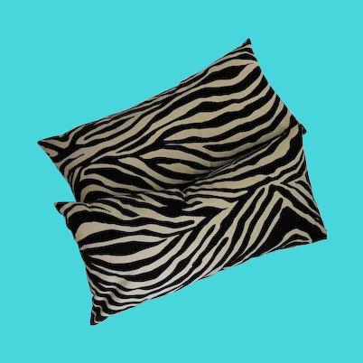 Pair Velvet Cut Pile Zebra Print Lumbar Throw Pillows Animal Print