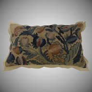 19th Century Needlepoint Pillow Cishion in Blue and Yellows