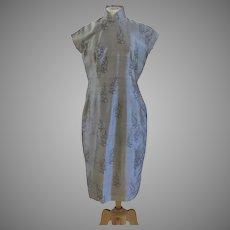 Vintage Chinese Hong Kong Qipao Cheongsam Silk Dress 1950's