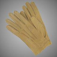 Vintage Pigskin Driving Gloves Gold Snap Closure