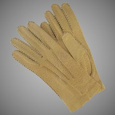Vintage Pigskin Driving Gloves Gold Snap Closure