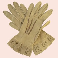 Vintage Women's Kid Leather Gloves Tan Embroidered & Cutwork Flounce