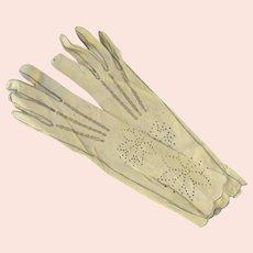 Vintage Kid Leather Women's Gloves Long Length