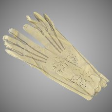 Vintage Kid Leather Women's Gloves Long Length