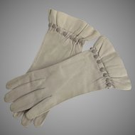 Vintage Leather Women's Gloves Pearl Gray