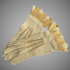Vintage Women's Leather Gloves With Metallic Gold Leaf Trim at Wrist