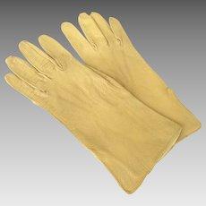 Pair of Vintage Kid Leather Gloves Gold