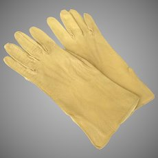 Pair of Vintage Kid Leather Gloves Gold