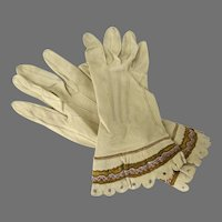 Pair of Charming Vintage Leather Gloves Tan Color Braid Flounce