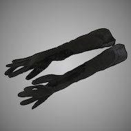 Vintage Long Black Gloves Suede Sequins