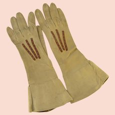 Vintage Kid Leather Gloves Embroidered Trim