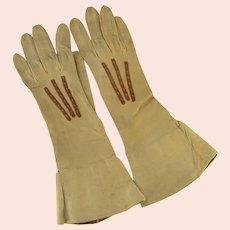 Vintage Kid Leather Gloves Embroidered Trim