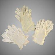 Three Pair Vintage Women's Gloves White