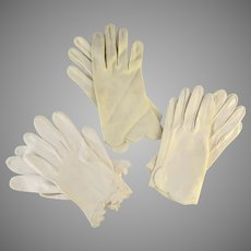 Three Pair Vintage Women's Gloves White