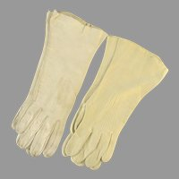 Two Pair Vintage Cream Leather Women's Gloves
