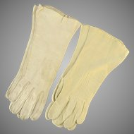 Two Pair Vintage  Bone Leather Women's Gloves
