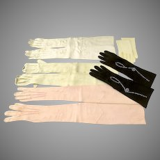 Group of 5 Pair Vintage Women's  Leather Gloves Props Theatre