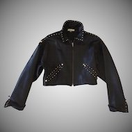 Super Soft Black Leather Studded Isaac Mizrahi 90's Cropped Jacket