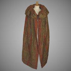 Paisley Shawl Cape Coat Vintage