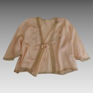1930's Silk Charmeuse & Lace Embroidered Bed Jacket Peach