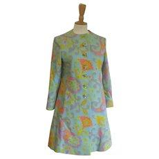 Vintage 1960's Mam'Selle Betty Carol Mod Pastel Paisley Spring Coat